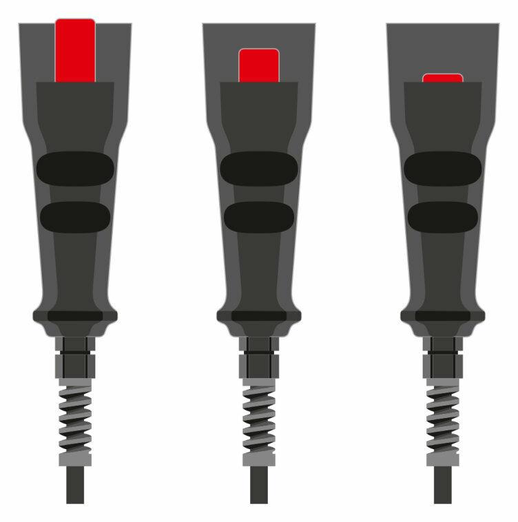 Tres niveles de seguridad: Pulsadores de validación de 3 escalones (Off/On/Off)