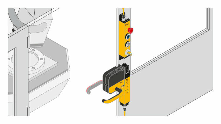 PSENmlock door handle module with an integrated escape release