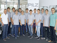 New trainees and dual system students on their first day at Pilz.